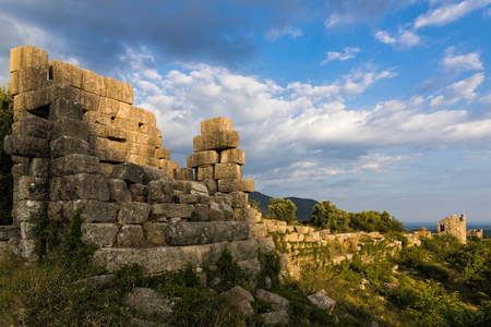 archaeological sites: Part of the fortifications in the archaeological site of ancient Messene in Peloponnese, Greece