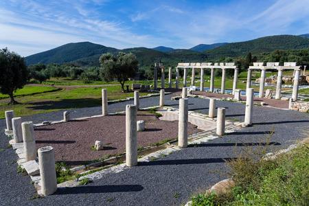 ペロポネソス半島、ギリシャの古代ギリシア都市メッセネの考古学的なサイトのアゴラの一部 写真素材