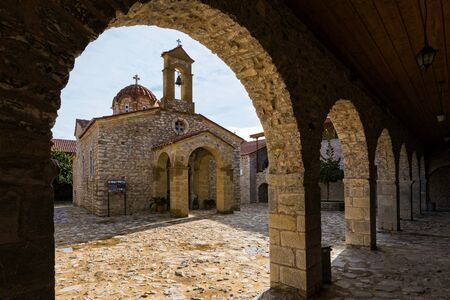 mystic place: View of the Monastery of Voulkano in Peloponnese, Greece