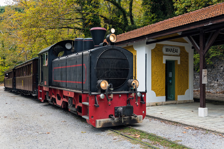 The old traditional train on Mount Pelion in Thessaly, Greece Editorial