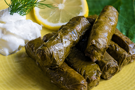 Delicious stuffed grape leaves (the traditional dolma of the mediterranean cuisine) on yellow plate with leaves, lemon slice, dill and tzatziki sauce