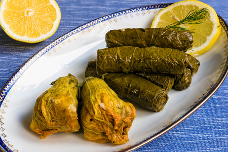 Delicious stuffed grape leaves and squash blossoms (the traditional dolma of the mediterranean cuisine) in white plate with lemon slice and dill