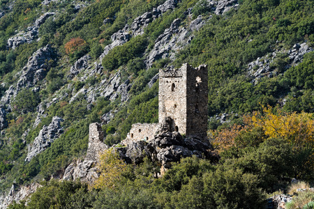 Ruined tower house in Peloponnese, Greece