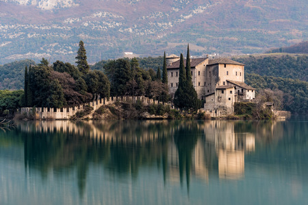 View of the castle  of Toblino in northern Italy