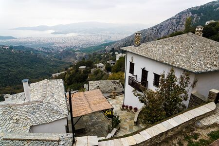 Traditional architecture in the village of Makrinitsa on Mt Pelion in Thessaly, Greece