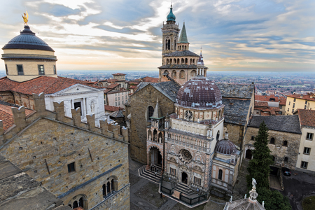 View of the Basilica of Santa Maria Maggiore in the old town of Bergamo in Italy
