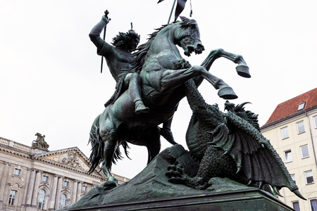 View of the St. George and the Dragon statue on April 16, 2017 in Berlin, Germany. Fascinating for its detailed design, the statue is one of the most photographed monuments in Berlin. 에디토리얼