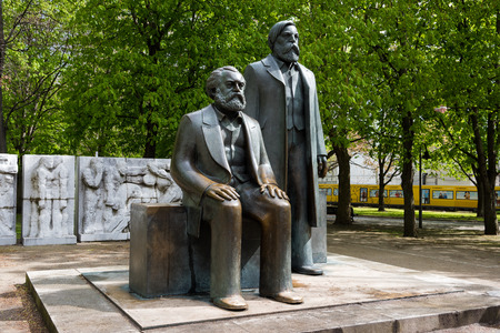 The statues of the fathers of the Communist idea, Karl Marx and Friedrich Engels, at the Marx-Engels-Forum, a public park on April 16, 2017 in Berlin, Germany.