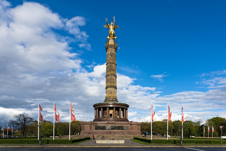 View of the Victory Column, a major tourist attraction on April 16, 2017 in Berlin, Germany Editorial