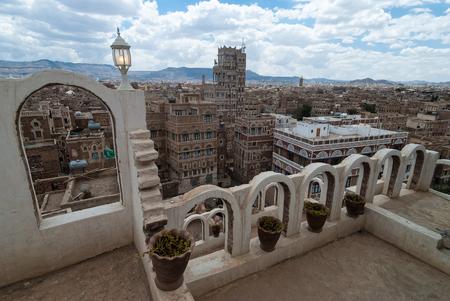 Multi-storey traditional buildings made of stone in Sanaa, Yemen