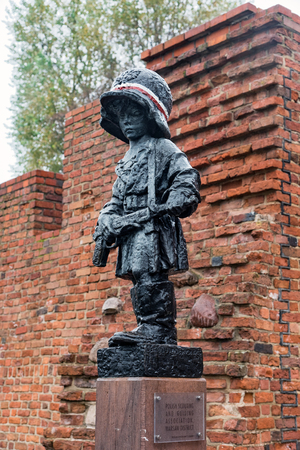 View of Maly Powstaniec, e.g.the Little Insurrectionist, a statue in commemoration of the child soldiers who fought and died during the Warsaw Uprising of 1944, on October 21, 2017 in Warsaw, Poland Sajtókép