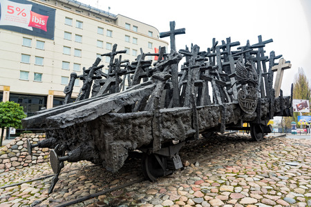 View of the Monument to the Fallen and Murdered in the East, a monument commemorating the victims of the Soviet invasion of Poland during World War II, on October 22, 2017 in Warsaw, Poland