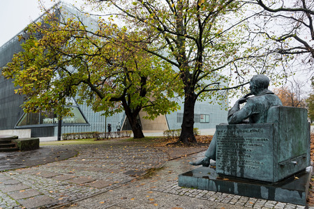 The statue of Ian Karski, in front of the Polin Museum, a Museum of the History of Polish Jews, on October 22, 2017 in Warsaw, Poland