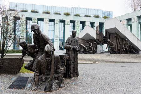 View of the Warsaw Uprising Monument, a memorial dedicated to the Warsaw Uprising of 1944, on October 22, 2017 in Warsaw, Poland