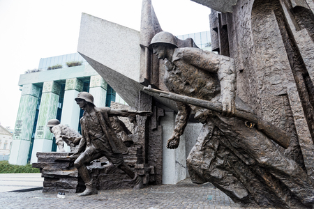 Part of the Warsaw Uprising Monument, a memorial dedicated to the Warsaw Uprising of 1944, on October 22, 2017 in Warsaw, Poland Sajtókép