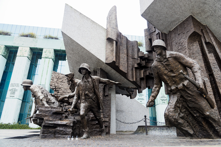 Part of the Warsaw Uprising Monument, a memorial dedicated to the Warsaw Uprising of 1944, on October 22, 2017 in Warsaw, Poland