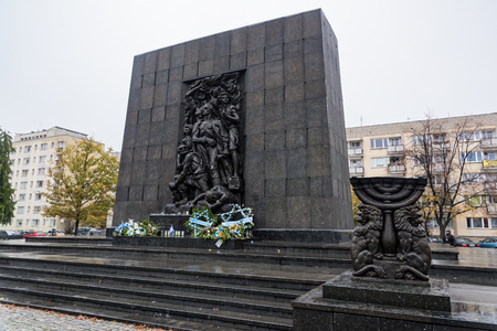 View of the Monument to the Ghetto Heroes near the Polin Museum, a Museum of the History of Polish Jews, on October 22, 2017 in Warsaw, Poland