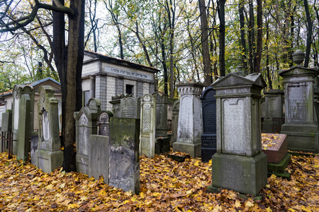 Old graves at the Jewish Cemetery, one of the largest Jewish cemeteries in Europe, on October 22, 2017 in Warsaw, Poland