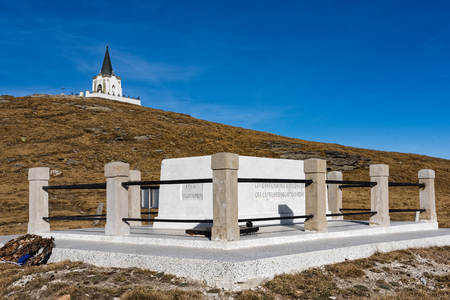 The memorial and the Serbian chapel in memory of their victims in World War I on Mount Voras in Greece on November 10, 2018