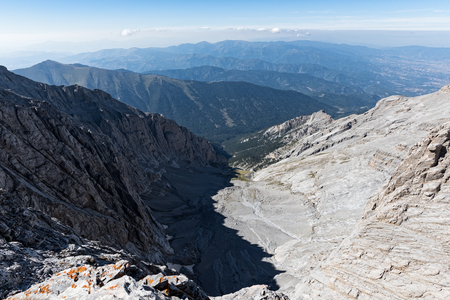 View of the steep rock face of Kazania, just below the highest peaks of Mount Olympus, the highest mountain of Greece and  home of the ancient Greek gods