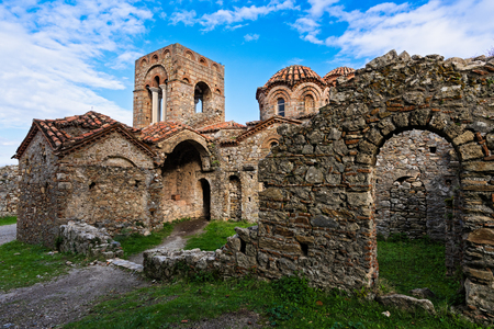 Part of the byzantine archaeological site of Mystras in Peloponnese, Greece. View of the Church of Hagia Sophia in the upper city of ancient Mystras