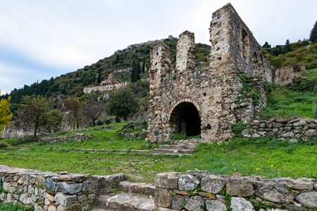 Part of the byzantine archaeological site of Mystras in Peloponnese, Greece. View of the remains of buildings in the lower city of the ancient Mystras