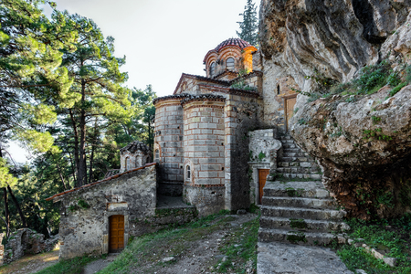 Part of the byzantine archaeological site of Mystras in Peloponnese, Greece.View of the Peribleptos Monastery in the middle city of ancient Mystras