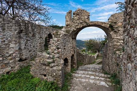 Part of the byzantine archaeological site of Mystras in Peloponnese, Greece. View of the remains of buildings in the upper city of the ancient Mystras