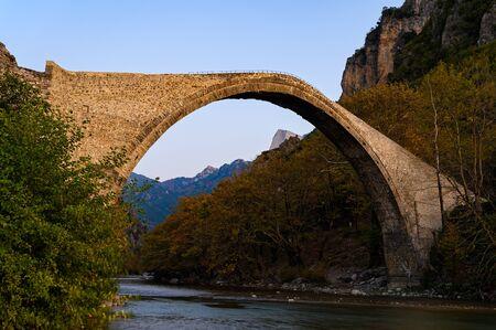 The traditional stone Bridge of Konitsa in Epirus, Greece Фото со стока