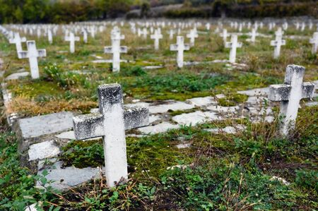 Military cemetery from the period of the Greek Civil War (1946-1949) in Nestorio in northwestern Greece Фото со стока