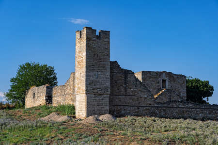 The ruined Dependency or Metochi of Agia Anastasia Monastery, once part of the now vanished Kritziana village in Halkidiki, Greece, built like a castle because of pirates