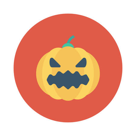Pumpkin inside colored circle in silhouette illustration