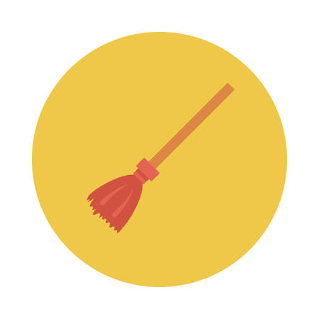 Broom inside colored circle in silhouette illustration