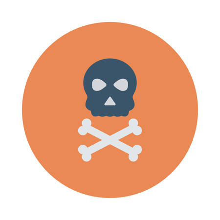 Skeleton inside colored circle in silhouette illustration
