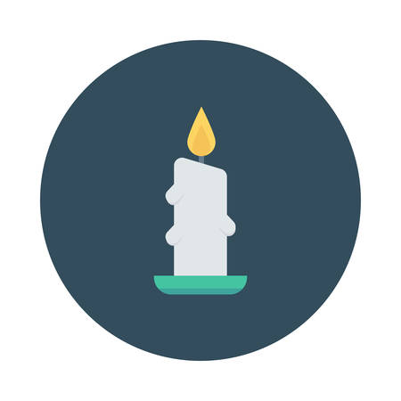 Candle light inside colored circle in silhouette illustration