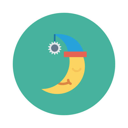 Moon, sleeping, inside colored circle in cartoon illustration