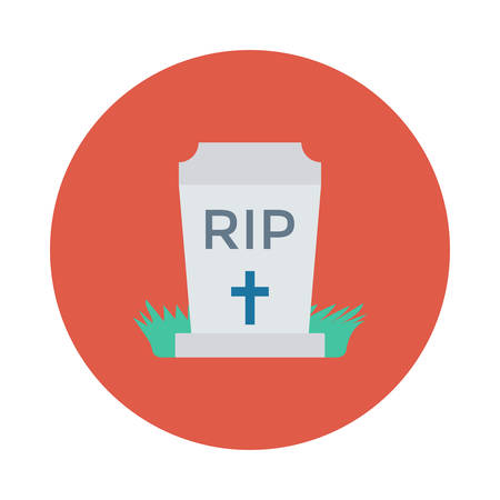Tombstone, RIP, inside colored circle in cartoon illustration.