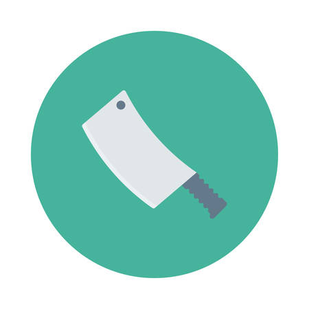 Buthcers knife inside colored circle in cartoon illustration