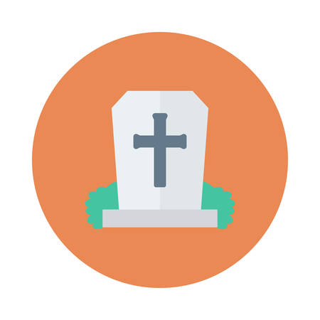 Tombstone, RIP, halloween concept in colorful, cartoon illustration.