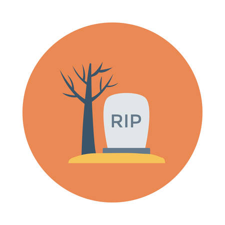 Tombstone beside dead tree, halloween concept in colorful, cartoon illustration.