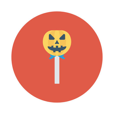 Pumpkin lollipop, halloween concept in colorful, cartoon illustration. Illustration