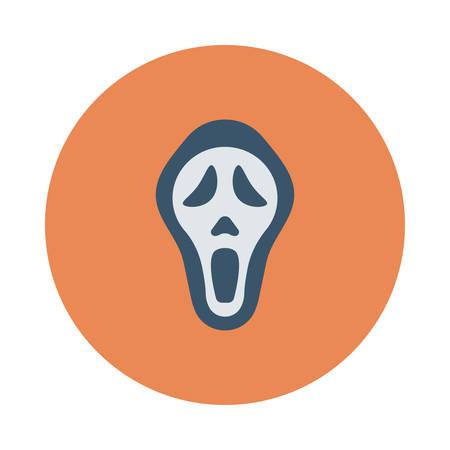Schedelgezicht, ontwerp voor Halloween, in kleurrijke, beeldverhaalillustratie.
