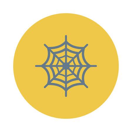 Spinneweb, ontwerp voor Halloween, in kleurrijke, cartoon illustratie.