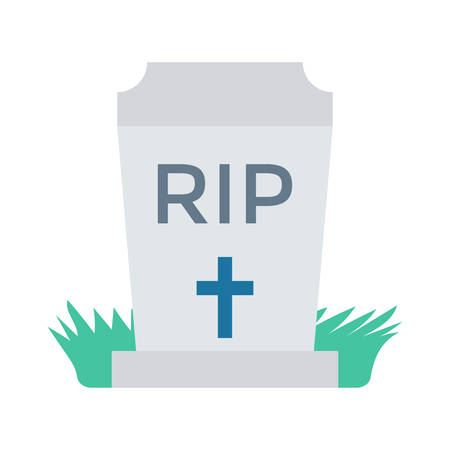 Tombstone, RIP, in grass, halloween concept in colorful, cartoon illustration.