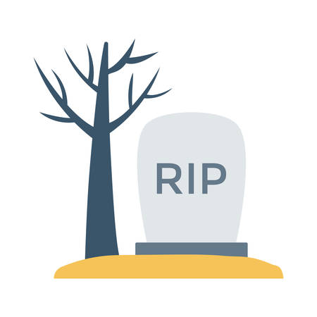 Tombstone beside dead tree, design for halloween, in colorful, cartoon illustration.