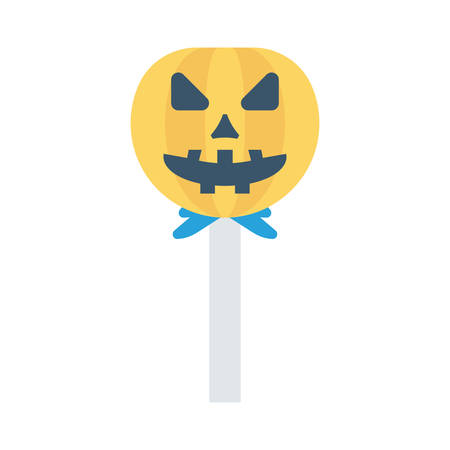 Pumpkin lollipop, trick or treat, halloween concept in colorful, cartoon illustration.