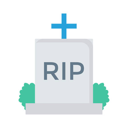 Tombstone in grass, halloween concept in colorful, cartoon illustration.