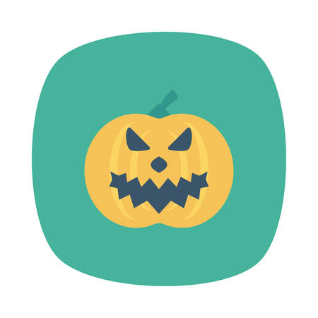 Pumpkin head Halloween themed icon. Illustration
