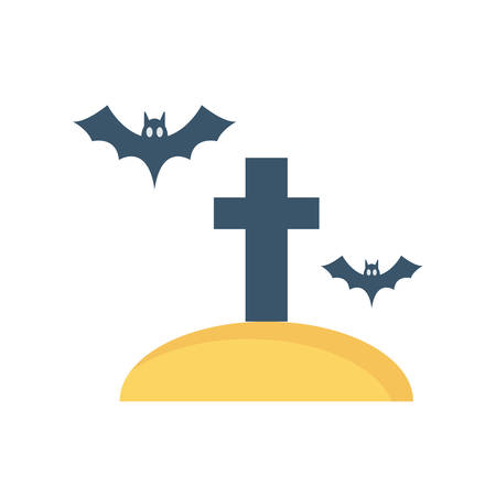 Cemetery Halloween themed icon.