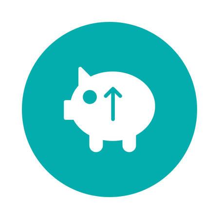 矢印上のシンボルを持つ貯金箱。